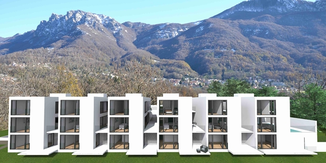 Brand new villas with terraces and gardens in Origlio.